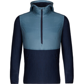 Icebreaker Descender Hybrid LS Half Zip Hood Men granite blue-dark night heather